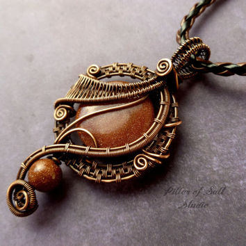 Brown Goldstone copper wire wrapped pendant, Wire Wrapped jewelry handmade, copper jewelry, wire jewelry woven wire jewelry pendant necklace