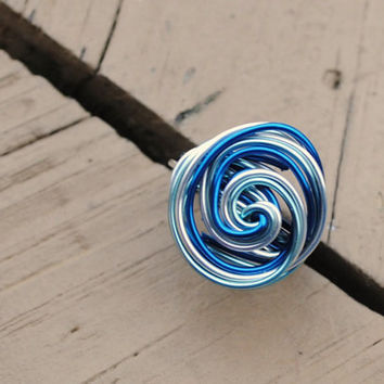 Wire Wrapped Ring Blue, Light Blue and Silver Ocean Waves