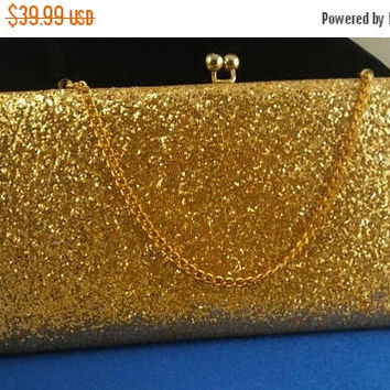 Now On Sale Vintage Gold Purse Sparkly Glitter 1960''s Collectible Clutch Mad Men Mod Hollywood Regency Mid Century Handbag