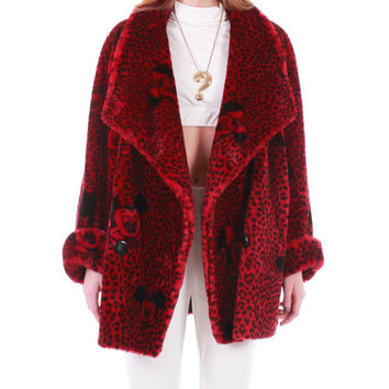 1992 Vintage Apparence Paris Red Faux Fur Coat Mickey & Minnie Mouse Print Rare Collectable Winter Jacket Made in France Women Plus Size 2X