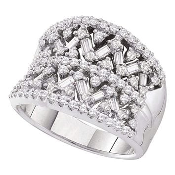 14kt White Gold Women's Round Baguette Diamond Fashion Band Ring 1-1/4 Cttw - FREE Shipping (US/CAN)