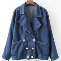 Blue Notched Collar with Pocket and Double-Breasted Denim Jacket