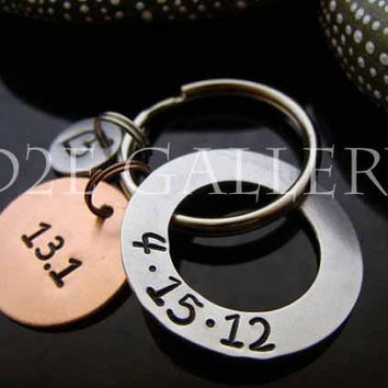 D2E personalized engraved hand stamped, Copper and Aluminum, marathon runners race key chain