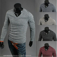 Fashion trend men's long-sleeved v-neck sweater knit sweater Men (Wish Size XS/S/M) [9210698819]