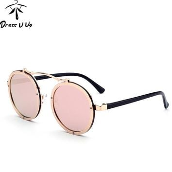 DRESSUUP 2017 Gothic Steampunk Sunglasses Men Women Metal Wrap Eyewear Round Shades Brand Designer Punk Sun Glasses Mirror UV400