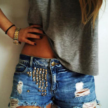 Distressed Studded ShortsRoyal BlissWomenTeens by melissakinnett