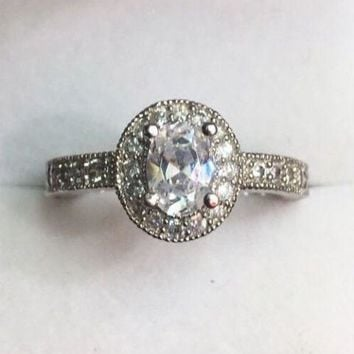 New Oval Halo Cubic Zirconia Handmade Engagement ring size-8