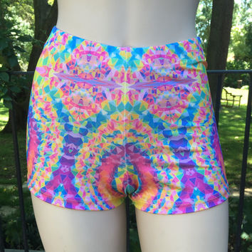 Hot Pants (Mid Waist) Glows in UV light - Perfect for Rainbow Serpent, Burning Man, EDC, Eclipse, Tomorrowland