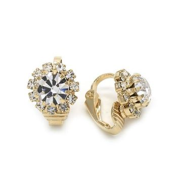 Gold Layered 02.09.0150 Leverback Earring, Flower Design, with White Cubic Zirconia, Polished Finish, Golden Tone