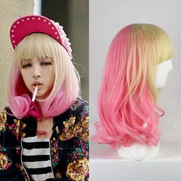 Cosplay Lolita Ladies Ombre Long Curly Wavy Hair Full Wigs Flaxen&Pink = 5710665409