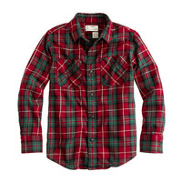 crewcuts Boys Flannel Shirt In Deep Red Plaid