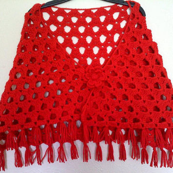 Red Flower Shawl, Womens Lacy Spring Summer Crochet Shawl