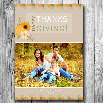 Thanksgiving Photo Card Fall Autumn Card Happy Holiday Thankful Floral Flowers Orange Brown Colors Family Picture (DIGITAL File, Printable)