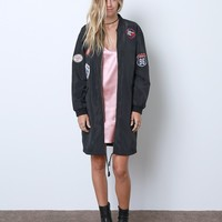 A Night To Celebrate Long Bomber Jacket - Black