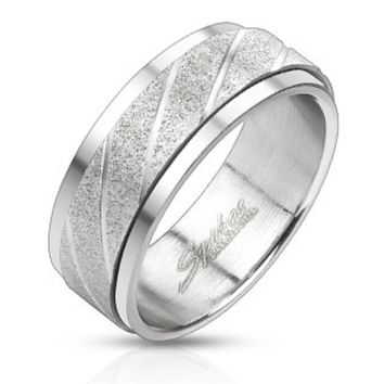 Two Tone Center Spinner Ring Stainless Steel