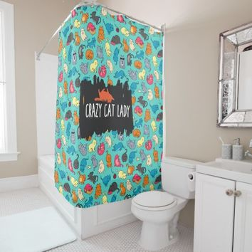 Crazy Cat Lady Cute and Playful Cat Pattern Shower Curtain