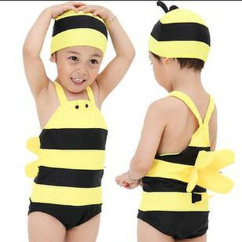 2017 Summer Baby Boys Swimsuit One Piece Suits Cute Yellow Bee Children's Swimwear with Swimming Cap UV Beach Clothes Hot Sale