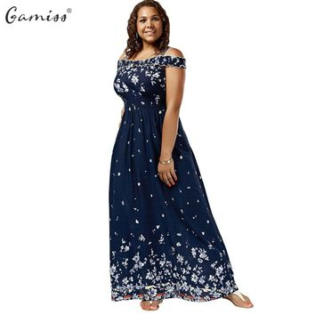 Gamiss Women Empire Waist Maxi Dresses Plus Size Floral Print Cold Shoulder Long Dresses Bohemian Female Short Sleeves Vestidos
