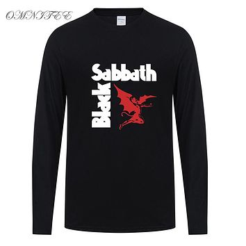 Spring Classical Rock Black Sabbath T Shirt Men Long Sleeve Cotton Metal Rock T-shirt Men Tops Tee