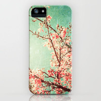 Pink Autumn Leafs on Blue Textured Sky (Vintage Nature Photography) iPhone Case by Andreka Photography | Society6