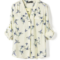 Birds Print Long Sleeves Blouse