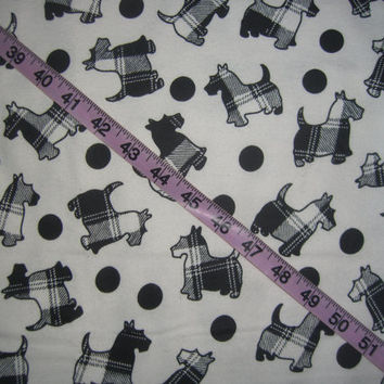 Flannel fabric with scotties scotty dog plaid dot black white cotton quilt quilting sewing material to sew by the yard crafts  Terrier