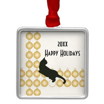 Gold Christmas Ornament and Playful Cat Cool