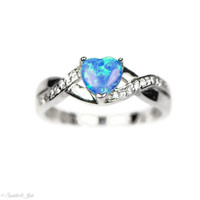 Sterling Silver Crossed Band Blue Opal Heart Ring