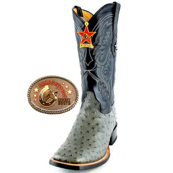 Los Altos Boots Mens Full Quill Ostrich Cowboy Boots Square Toe 8220309 Gray