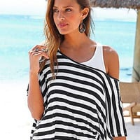 Black and White Striped One Shoulder Bat Sleeve Dress