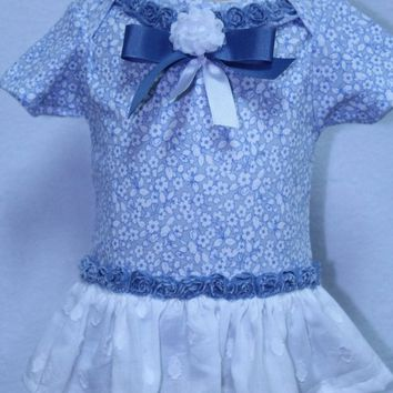 Baby girl clothes, baby shower gift, new baby gift, bodysuit, baby girl gift, baby gift, blue, Laura Ashley look, country, baby dress