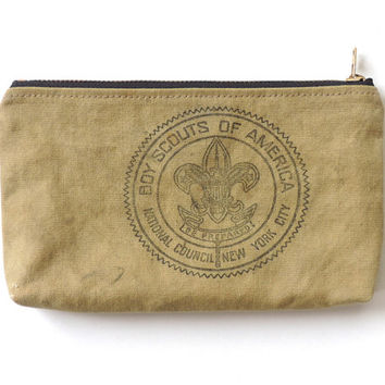 Boy Scout Canvas Wallet Zipper Pouch Pencil Case Recycled SALE