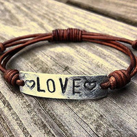 Silver Valentines Day LOVE bracelet id Leather Hand Stamped, personalized, military tag bracelet,