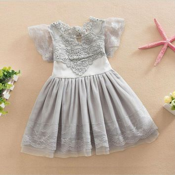 Summer Dresses for Baby Girls Kids Princess Lace Dresses Cotton Flower Girl Dresses for Evening Party and Wedding 1Y-6Y