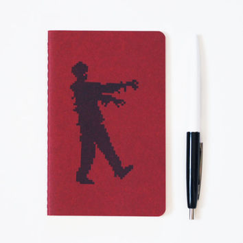 Zombie notebook 8 bit horror pocket moleskine lined or blank pages