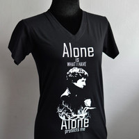 SHERLOCK bbc Alone protects me T-shirt  Short Sleeve