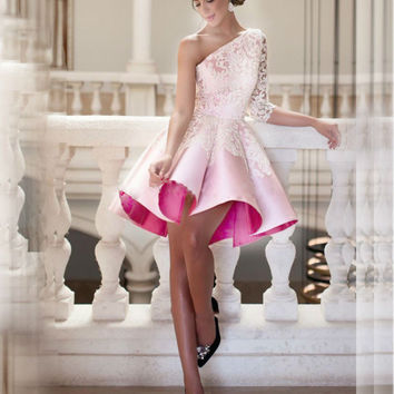 2016 Pink Cocktail Dresses Robe De Noel Short Vestido Festa Curto Coquetel Para Formatura Ball Gown Lace One Shoulder