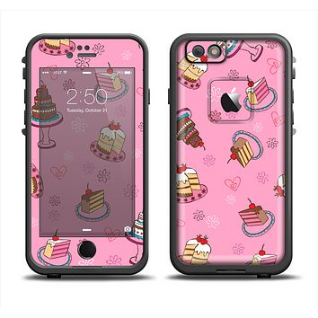The Pink with Yummy Cakes Apple iPhone 6 LifeProof Fre Case Skin Set