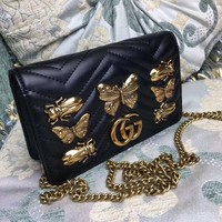 """Gucci"" Women Fashion Genuine Leather Cowhide Metal Butterfly Insect Rivet Single Shoulder Messenger Bag Chain Small Square Bag"