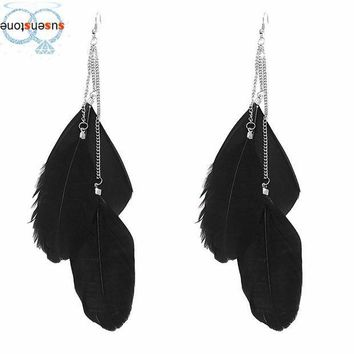 ICIKJY1 Bohemian Handmade Vintage Feather Long Drop Earrings