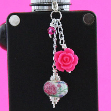 Rose and Carnation VapeCharm - Girly Vape Charm - Flower vape charm - Mod Charm - E cig Charm - Tank Charm - Electronic Cigarette Charm
