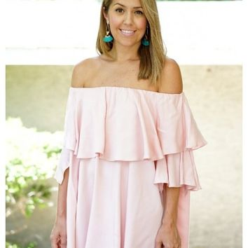Blush off the shoulder ruffle dress | Cami | escloset.com