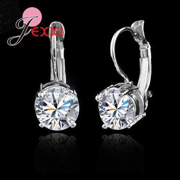 Genuine 925 Sterling Sliver Fashion Jewelry Shining Micro Clear Crystal Silver Clip Earrings for Women Party Factory Sale