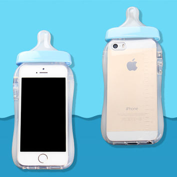 Soft Silicone TPU Cover Transparent 3D Rubber Baby Nipple Milk Bottle Feeding Clear Case For Iphone 5 5s SE Blue