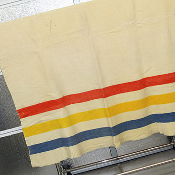 Vintage Wool Blanket - Red, Blue and Yellow Stripe
