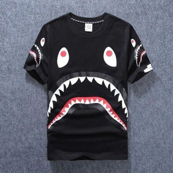 DCKI72 New men's tide brand shark mouth men and women couple round neck short sleeve [140551290892]