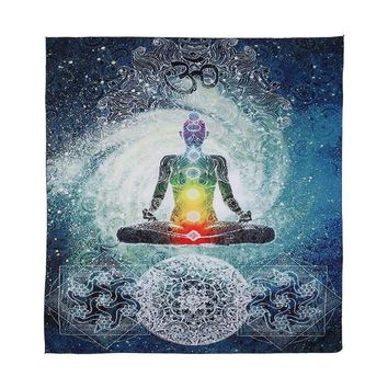 Polyester Buddha Statue Woven Wall Hanging Printed Tapestry Bedspread Beach Blanket Towel Yoga Mat Sunscreen Shawl Tablecloth
