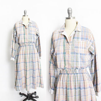 Vintage 1980s Dress  - Pastel Plaid Full Skirt Shirt Front Pockets 80s - Medium