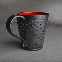 Spiky Mug Made To Order Black and Red by symmetricalpottery