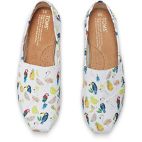 WHITE CANVAS PRINTED PARROTS WOMEN'S CLASSICS